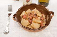 Ricetta Mezze Maniche (o paccheri) con polpo e cipolle
