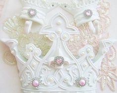 Fleur de Lis Bed Crown Canopy Teester Pink by sweetlilboutique