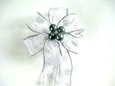 Dark gray and silver gift wrap bow/ Christmas tree decoration/ Small gift bow/ Gift bow for baskets and bags/ Holiday decoration (C396)