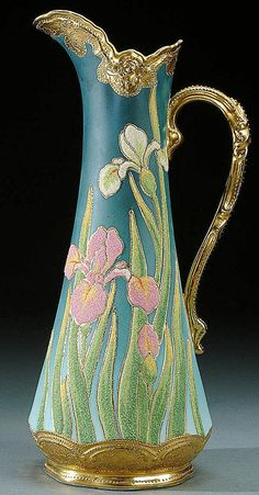 A NIPPON CORALENE DECORATED PORCELAIN EWER  CIRCA 1909, WITH BEADED GLASS DECORATION OF IRIS ON A SHADED BLUE SATIN GROUND
