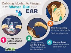 rubbing alcohol and white vinegar to get water out of your ear