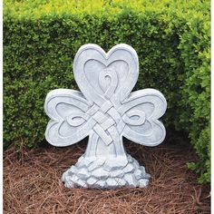 "Cherished Shamrock Garden Stone  Exquisitely detailed with Celtic knot work wound into three hearts make this a thoughtful Irish touch for your space. Whitewashed grey resin. 15 ½""L x 6 ¾""W x 18""H.  Order It Now!  #CreativeIrishGifts #Ireland #Irish"