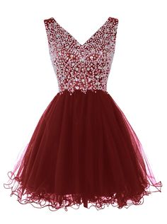 Tideclothes Women's Fantastic Short V-neck Prom Dress Evening Dress with Beads Burgundy16
