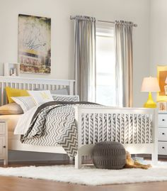 Lovely in yellow. This kids room combines the soothing hues of grey, white and yellow together perfect. HomeDecorators.com #kids