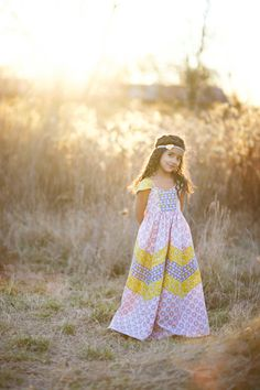 NEW: Annabelle Chevron Maxi Dress PDF Pattern & Tutorial, All sizes 2t-10 years included