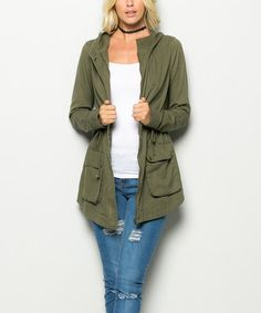 Another great find on #zulily! Olive Hooded Anorak Jacket #zulilyfinds
