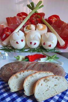 Kedves kis Húsvéti nyuszik főtt tojásból. Nagyon egyszerű elkészíteni . A gyerekek kedvence és persze remekül díszíti ünnepi asztalt. :) Finom házi kenyérrel tökéletes választás Eggs, Breakfast, Food, Meal, Egg, Eten, Meals, Morning Breakfast