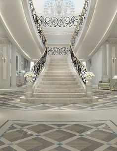 Luxurious Grand Staircase Design Ideas For Amazing Home 45 Luxury Staircase, Grand Staircase, Staircase Design, Staircase Railings, Interior Design Dubai, Interior Design Companies, Modern Interior, Interior Work, Escalier Art