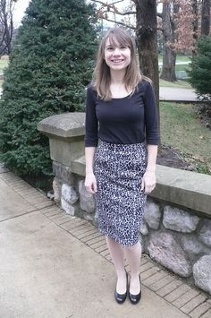 Ginger's pencil skirt from Mood's animal print sweater knit. #moodfabrics