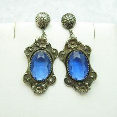 Antique Pendant Earrings Art Nouveau Jewelry by PurpleDaisyJewelry