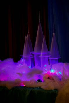 Just loved how our Practically Perfect Ice Castle Party Prop looked when the lights went down. it definitely set the stage for an amazing Frozen Party.