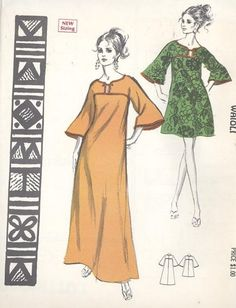 Hawaiian Dress, Gown, Muumuu Vintage Sewing Pattern Polynesian Pattern 203 Waioli