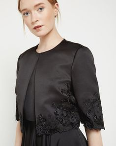 Embroidered jacket - Black | Tailoring | Ted Baker UK