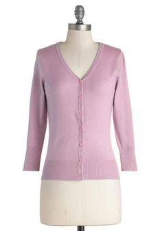 Charter School Cardigan in Lavender - Knit, Sweater, Short, Purple, Solid, Buttons, Work, Pastel, Darling, 3/4 Sleeve, Spring, Good, Variati...