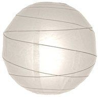 "20"" White Round Paper Lantern, Crisscross Ribbing, Hanging Decoration"