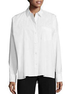 Theory - Lourah Stretch Cotton Oversized Shirt