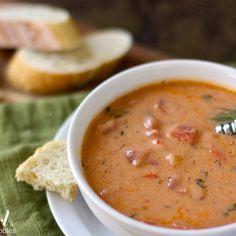 Slow Cooker Creamy Tomato Vegetable Soup with Tortellini | MyRecipes.com
