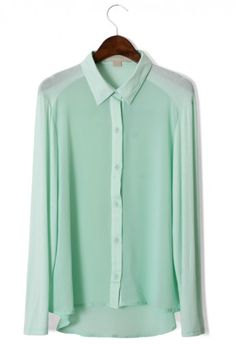 Mint Green Shirt - New Arrivals - Retro, Indie and Unique Fashion Mode Style, Style Me, Mint Blouse, Green Blouse, Mint Green Shirts, Mint Shirt, Unique Fashion, Womens Fashion, My Wardrobe