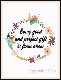 """Scripture Art Print  """"Every Good and Perfect Gift"""", Wall Decor, 8 x 10"""" Unframed Motivational Quote"""