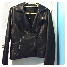 Black leather jacket Bcbg MaxAzria Black leather jacket in size M.  Worn only once! Retails for $595 BCBGMaxAzria Jackets & Coats