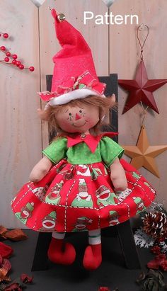 PATTERN Christmas Raggedy Baby Girl Elf Cloth Doll Primitive Folk Art Holiday 75 #CottonWoodCountry