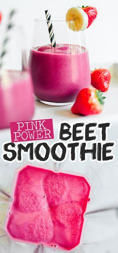 Healthy Smoothies This Pink Power Beet Smoothie recipe takes the classic strawberry banana smoothie and super-charges it with antioxidant-rich roasted beets! A great easy breakfast idea that's healthy and full of flavor. Fruit Smoothies, Smoothies Banane, Smoothies Vegan, Smoothies Detox, Easy Smoothie Recipes, Breakfast Smoothies, Smoothies With Beets, Pink Smoothie Recipe, Beet Recipes Healthy