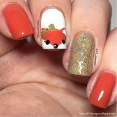awesome Woodland Animals: Fox Nail Art