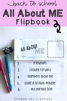 This All About Me Back to School Flip Book is fun, easy, and will go right along with the other activities, ideas, and crafts that you have planned for your students to at the beginning of the school year. Six tabs provide information for kids to fill out so that they can share all about themselves, while incorporating beginning writing practice at the same time (second, third, 2nd grade, 3rd grade) #rainbowskycreations Writing Resources, School Resources, Learning Resources, Book Activities, Primary School Teacher, Primary Classroom, Google Classroom, Classroom Ideas, Beginning Of The School Year