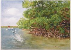 """Strike Near the Mangroves"" by Arthur Shilstone. Watercolor on paper, 18"" x 23""."