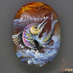 bag Accessory Hand Painted swordfish Natural Gemstone handmade Pendant ZL804817 #ZL #Pendant