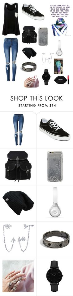 """""""Idc"""" by yinyang-bestfriend-goals ❤ liked on Polyvore featuring WithChic, Vans, Agent 18, Beats by Dr. Dre, BERRICLE, CLUSE and Lime Crime"""