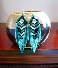 Native Seed bead Earrings Turquoise and Black by WMJBeads on Etsy, $18.00