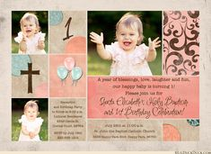 Soft, gentle coral & aqua tones accent design for happy coral Baptism and 1st birthday invitations! A sun washed effect washes over the card, from rustic