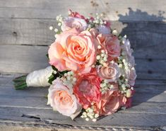 Pfirsich Rose Hochzeitsstrauß Seide Blume Blumenstrauß mit