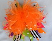 Over the top halloween hair bow orange black boutique bow