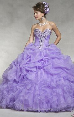 Beaded Purple Quinceanera Dresses 2014 Ruffled Organza Pink Debutante Ball Gown Dress Strapless Sweetheart Vestido De Debutante $169.00