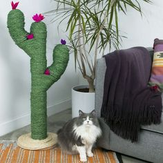this with feather flowers on top?? - This Cactus Post Gives Your Cat A Stylish Place To Scratch
