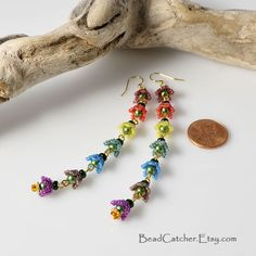 Flowers of Rainbow earrings by BeadCatcher on Etsy