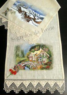 CM25- Pintura e crochet em caminho de mesa
