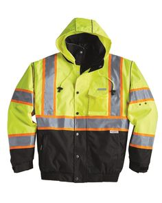 "Item #: 88029           Catalog Page #: 737  300-denier waterproof, seam sealed shell Removable black quilted lining Hidden collar hood 2"" wide 3M™ Scotchlite™ reflective material with 3"" contrast Reflective piping on collar, shoulders, hood and sleeve seams Adjustable cuffs Black bottom front and cuffs for durability Left chest radio pocket Two outside lower slash pockets with zippers Inside wallet pocket ANSI/ISEA 107 Class 3 compliant"