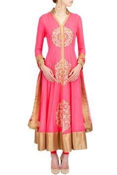 ANEESH AGARWAAL Neon pink three mofits kurta set
