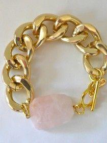 STYLE/STALK — Oia Jules Gold Chain Bracelet + Rose Quartz $36 http://stylesta.lk/NfMXm9