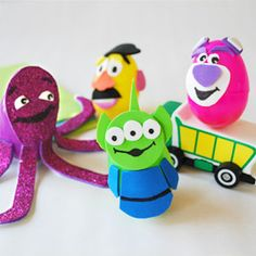 Toy Story Teeter Toys- templates from disney, attached to easter eggs and cut from self adhesive foam