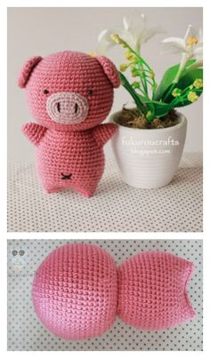 Mesmerizing Crochet an Amigurumi Rabbit Ideas. Lovely Crochet an Amigurumi Rabbit Ideas. Crochet Pig, Crochet Mignon, Crochet Patron, Cute Crochet, Crochet Animals, Crochet Crafts, Crochet Dolls, Crochet Projects, Crochet Coaster