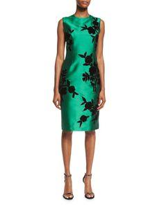 TCF84 Sachin & Babi Sleeveless Embroidered Cocktail Dress, Emerald