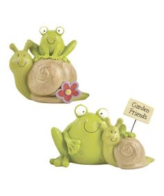 Take a look at this 'Garden Friends' Frog & Snail Figurine Set by Blossom Bucket on #zulily today!