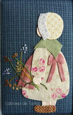 New Embroidery Patterns Girl Sunbonnet Sue 16 Ideas Hand Applique, Wool Applique, Applique Patterns, Applique Quilts, Applique Designs, Embroidery Applique, Quilt Patterns, Quilting Templates, Machine Embroidery