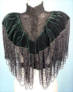 c. 1880's/1890's HOUSE OF WORTH COUTURE Bottle Green Silk Velvet Beaded Capelet with Black Lace