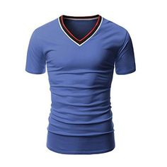 2017 Summer New Fashion Stylish Men V-neck Short Sleeve Slim Fit Solid T-shirts