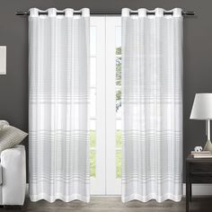 Exclusive Home Pesaro Striped Sheer Grommet Top Window Curtain Panels - 54' x 84', Sold As Set of 2 / Pair *** Click image to review more details. (This is an affiliate link and I receive a commission for the sales)